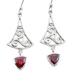 Natural red garnet 925 sterling silver dangle earrings jewelry m74787