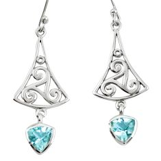 Natural blue topaz 925 sterling silver dangle earrings jewelry m74790