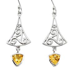 Natural yellow citrine 925 sterling silver dangle earrings m74795
