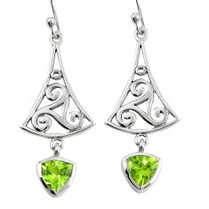 Natural green peridot 925 sterling silver dangle earrings jewelry m74799
