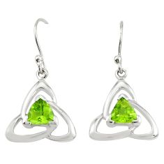 Natural green peridot 925 sterling silver dangle earrings jewelry m74826