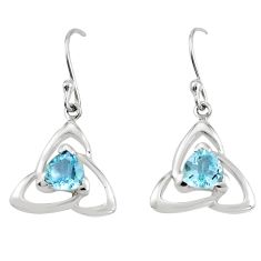 Natural blue topaz 925 sterling silver dangle earrings jewelry m74829