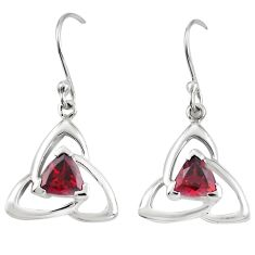 Natural red garnet 925 sterling silver dangle earrings jewelry m74830