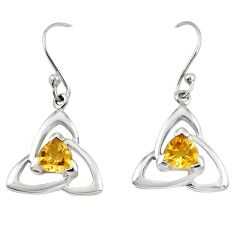 Natural yellow citrine 925 sterling silver dangle earrings m74836