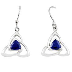 Natural blue iolite 925 sterling silver dangle earrings jewelry m74839