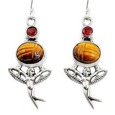 925 silver natural brown tiger's eye angel wings fairy earrings jewelry m75045