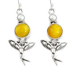 Yellow amber pearl 925 sterling silver angel wings fairy earrings m75052