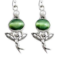 Green cats eye pearl 925 silver angel wings fairy earrings jewelry m75058