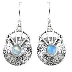 Natural rainbow moonstone 925 sterling silver dangle earrings m75468