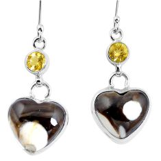 Natural brown peanut petrified wood fossil 925 silver heart earrings m78244