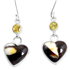 Natural brown peanut petrified wood fossil 925 silver heart earrings m78245