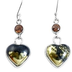 Natural pyrite in magnetite (healer's gold) 925 silver heart earrings m78252
