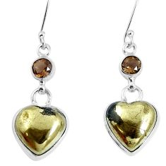 Natural pyrite in magnetite (healer's gold) 925 silver heart earrings m78253