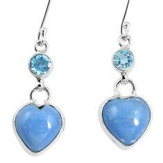 Natural blue angelite topaz 925 sterling silver heart earrings m78257