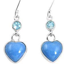 Natural blue angelite topaz 925 sterling silver heart earrings m78258