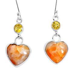 925 silver natural orange calcite yellow citrine heart earrings m78259
