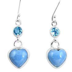 925 sterling silver natural blue angelite topaz dangle heart earrings m81248