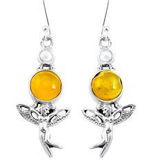 Natural yellow amber bone 925 silver angel wings fairy earrings m81252
