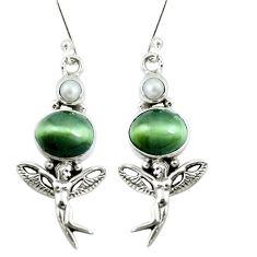 925 silver green cats eye pearl angel wings fairy earrings jewelry m81253