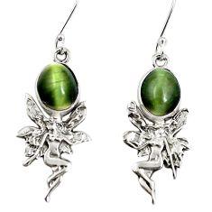 Green cats eye 925 sterling silver angel wings fairy earrings m81823