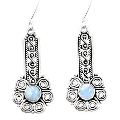 Natural rainbow moonstone 925 sterling silver dangle earrings m82290