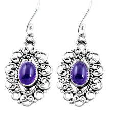 Natural purple amethyst 925 sterling silver dangle earrings m82364
