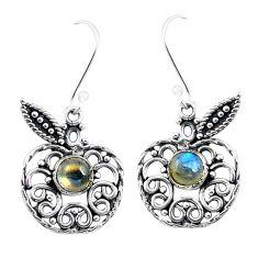 Natural blue labradorite 925 sterling silver dangle apple charm earrings m82795