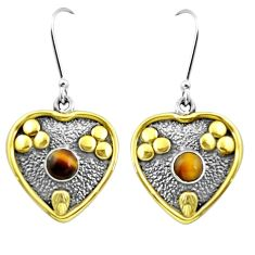 Natural brown tiger's eye 925 sterling silver two tone victorian earrings m85725