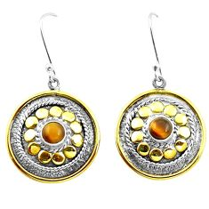 Natural brown tiger's eye 925 silver two tone dangle victorian earrings m85741