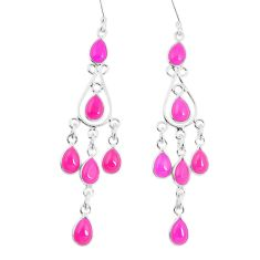 Natural raspberry chalcedony 925 sterling silver chandelier earrings m86248