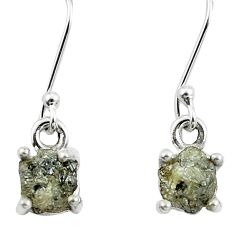 4.53cts natural white certified diamond rough 925 silver dangle earrings m86627