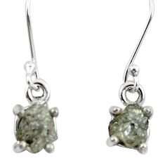 4.47cts natural white certified diamond rough 925 silver dangle earrings m86639