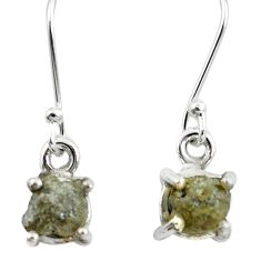 4.54cts natural white certified diamond rough 925 silver dangle earrings m86642