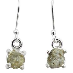 925 silver 4.59cts natural white certified diamond rough dangle earrings m86644