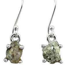 5.22cts natural white certified diamond rough 925 silver dangle earrings m86650