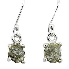 4.54cts natural white certified diamond rough 925 silver dangle earrings m86651