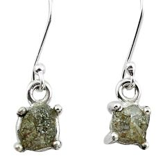 925 silver 4.84cts natural white certified diamond rough dangle earrings m86660
