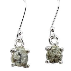 4.54cts natural white certified diamond rough 925 silver dangle earrings m86661