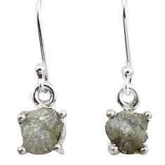 4.89cts natural white certified diamond rough 925 silver dangle earrings m86662