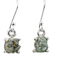 4.89cts natural white certified diamond rough 925 silver dangle earrings m86665