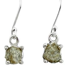 4.91cts natural white certified diamond rough 925 silver dangle earrings m86669