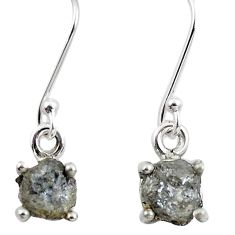 4.84cts natural white certified diamond rough 925 silver dangle earrings m86670