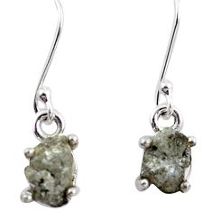 4.72cts natural white certified diamond rough 925 silver dangle earrings m86672