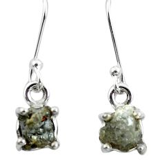 4.89cts natural white certified diamond rough 925 silver dangle earrings m86677