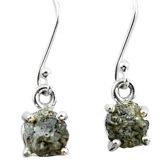 4.89cts natural white certified diamond rough 925 silver dangle earrings m86679