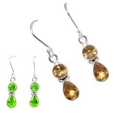 Green alexandrite (lab) 925 sterling silver dangle earrings m86693