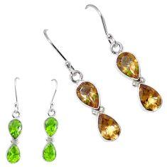 Green alexandrite (lab) 925 sterling silver dangle earrings m86714