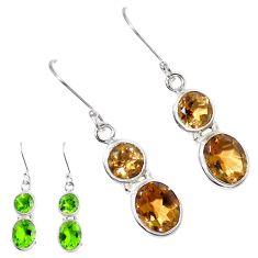 Green alexandrite (lab) 925 sterling silver dangle earrings m86741