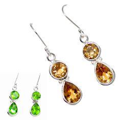 Green alexandrite (lab) 925 sterling silver dangle earrings jewelry m86752