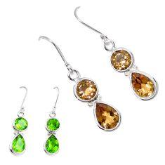 Green alexandrite (lab) 925 sterling silver dangle earrings jewelry m86758